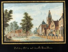 Set of 4 framed views of villages near Breda ca. 1778, in coloured gouaches