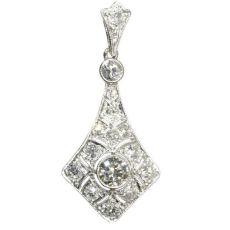 Platinum Art Deco diamond pendant by Unknown Artist