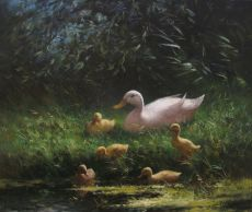Duck with five ducklings by Constant Artz