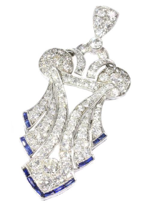 Original stylish Vintage Art Deco platinum diamond loaded pendant by Unknown Artist