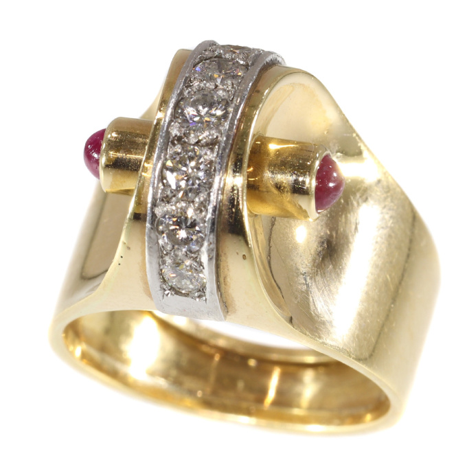 Extrovert and stylish red gold vintage Art Retro ring with diamonds and rubies by Unknown Artist