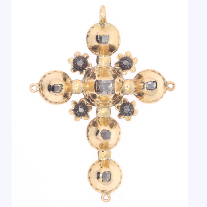 Antique Belgian Georgian gold cross pendant with old table cut rose cut diamonds by Unknown