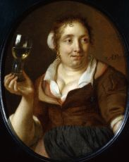 A Woman Holding a Roemer with Wine  by Ary de Vois