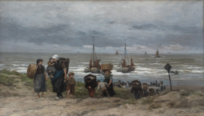 Fishermen wives in the dunes by Philip Lodewijk Jacob Frederik Sadée