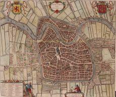 17e-EEUWSE STADSPLATTEGROND VAN HAARLEM   by Leti, Gregorio (1630-1701)