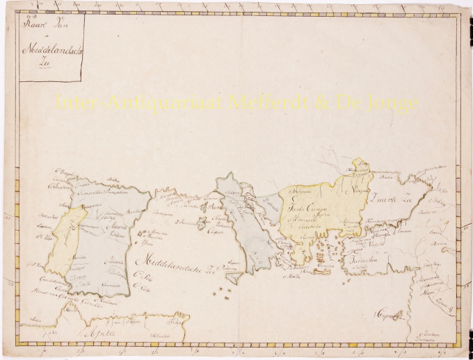 UNIQUE MANUSCRIPT MAP OF THE MEDITERRANEAN  by Anonymous