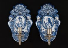 Pair of Delftware Wall Sconces