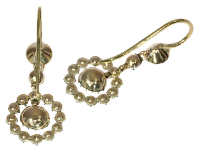 Antique 18th century rose cut ear pendants by Unknown Artist