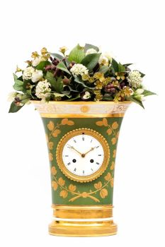 A French Empire Sevres porcelain urn mantel clock, circa 1800 by Unknown Artist