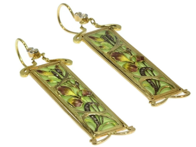 Plique ajour enamel Art Nouveau stained glass window earrings emaille a fenetre by Unknown