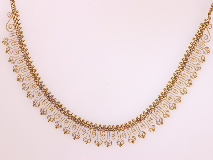 Antique Dutch Etruscan revival gold filigree bow necklace by Unknown Artist