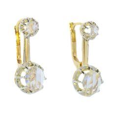 Vintage 1940's earrings with large rose cut diamonds by Unknown Artist