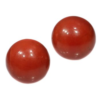 Antique gold red coral stud earrings (ca. 1900) by Unknown Artist