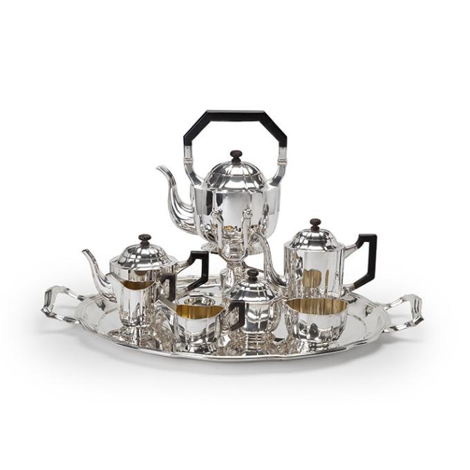 German silver tea and coffee service by Hermann Behrnd