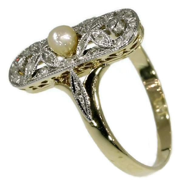 Belle Epoque ring with rose cut diamonds and pearl by Unknown Artist