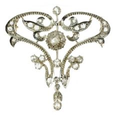 Art Nouveau diamond brooch pendant by Unknown Artist