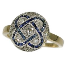 Art Deco diamond and sapphire engagement ring by Unknown
