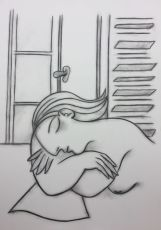 Taking a nap in front of a window