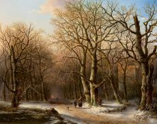 A wood gatherer in a snowy landscape