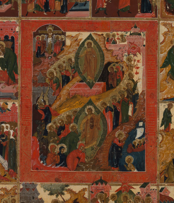 No 3 Palech Icon of the Anastasis and the Twelve Main Feasts by Unknown