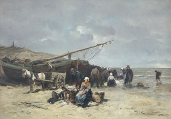 Selling fish on the beach of Scheveningen by Johannes Marius ten Kate