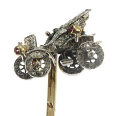 Antique bejeweled tiepin showing one of the first cars by Unknown Artist
