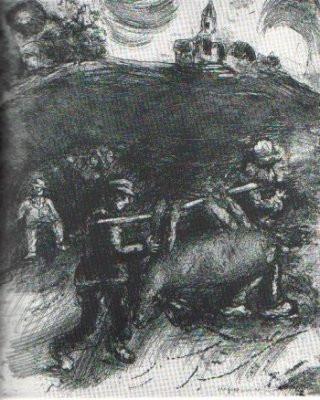 Le Meunier, son fils et l'Ane by Marc Chagall
