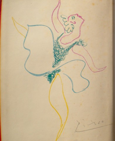 A unique Pablo Picasso signed and dedicated lithograph and signature by Pablo Picasso