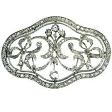 Antique Victorian brooch with rose cut diamonds by Unknown Artist