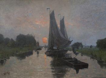 Ships sailing at sunset by Willem Cornelis Rip