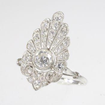 French elegant Belle Epoque diamond engagement ring platinum by Unknown Artist