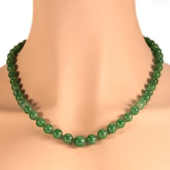 Certified top quality natural jadeite necklace of 53 beads (67,51 grams) - A-Jade, translucent, mottled light green and green by Unknown Artist