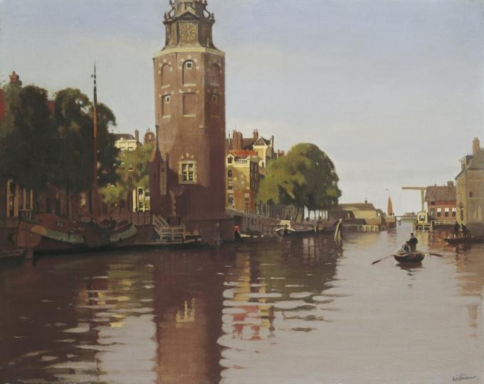The Montelbaanstoren on the Oude Schans in summer by Willem Witsen
