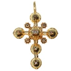 Antique gold cross with table cut rose cut diamonds 18th century by Unknown Artist