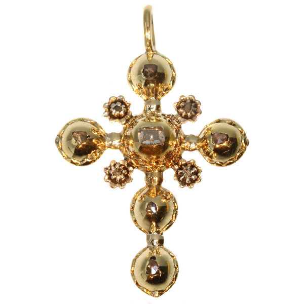 Antique gold cross with table cut rose cut diamonds 18th century by Unknown