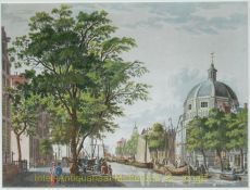 Amsterdam  gezicht op de Singel met de ronde Lutherse kerk by Kruyff, Cornelis de