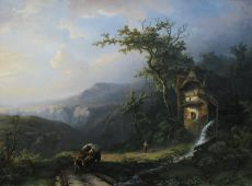 A mountainous landscape with watermill and ox drawn cart