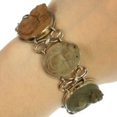 French antique lava stone cameo silver bracelet