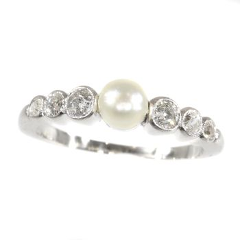 Art Deco diamond and pearl ring by Unknown Artist