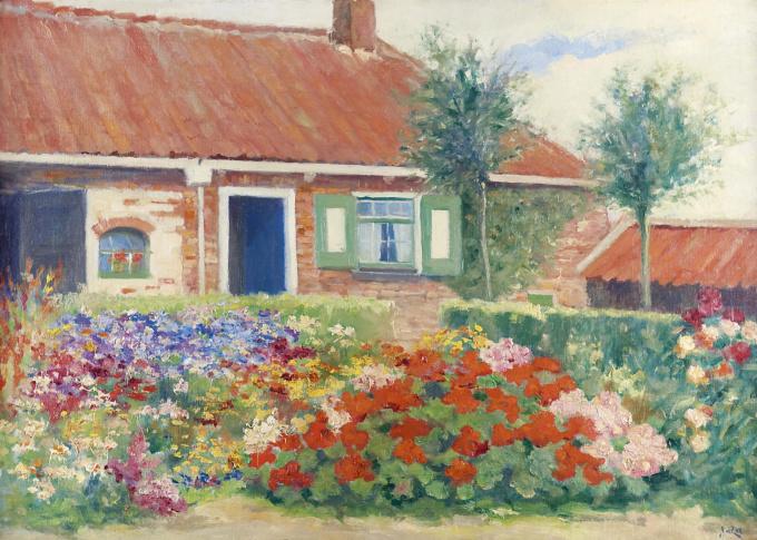A garden in bloom near Walcheren by Abraham van der Zee