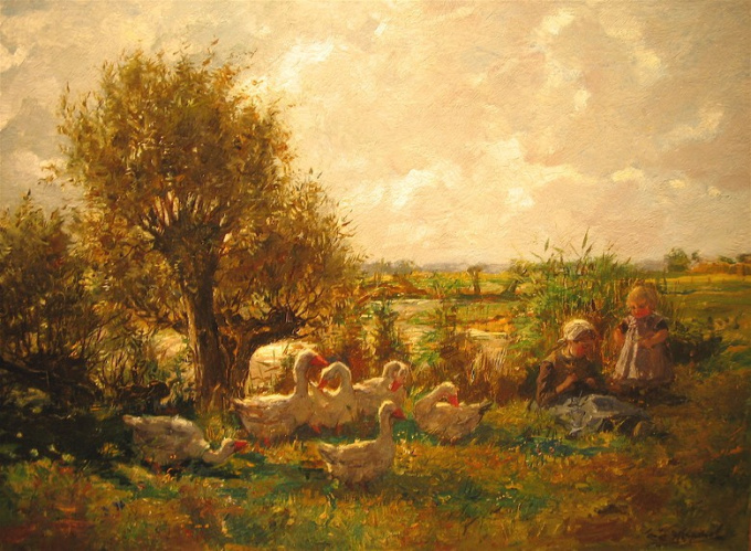 Landscape, children and geese by Cornelis Koppenol