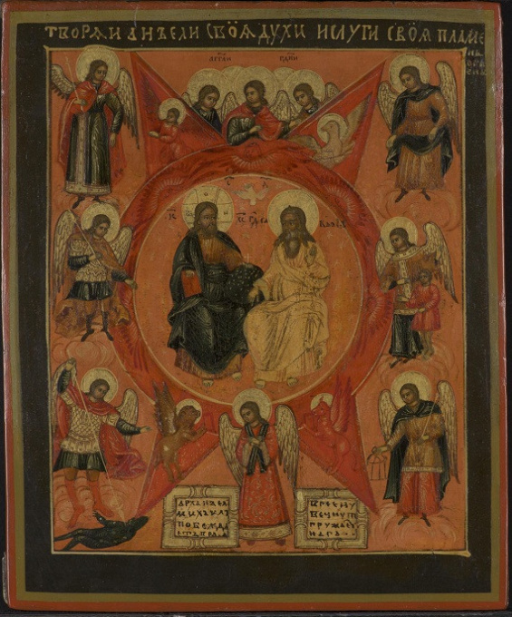 Antique Russian wooden icon: The New Testament Trinity, ca. 1800  by Unknown Artist