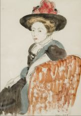 Sitting lady with hat by Georges Lemmen