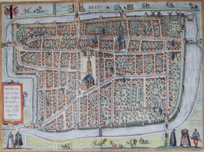 Delfum- Map of Delft  by Georg Braun