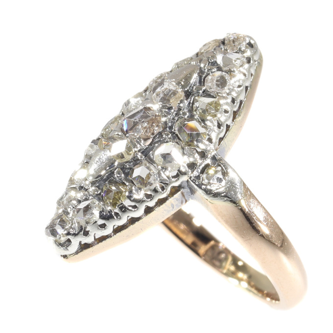 Antique boat shaped diamond engagement ring by Unknown Artist
