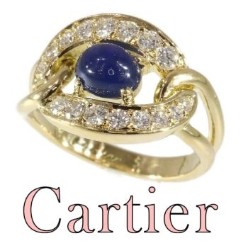 Vintage luxury CARTIER ring with sapphire and diamonds by Unknown Artist