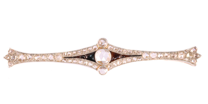 Vintage Art Deco diamond and onyx bar brooch by Unknown