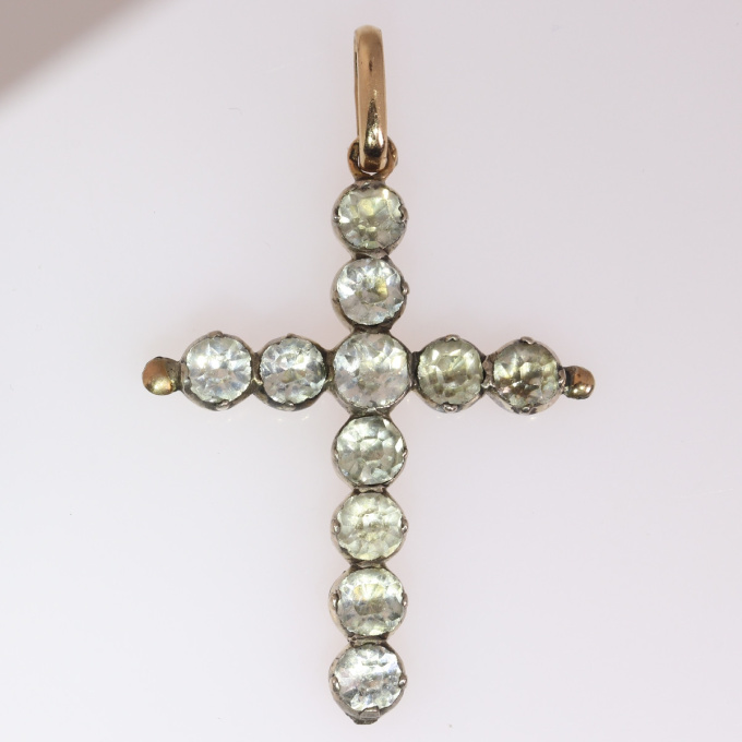 Victorian antique silver on gold cross by Unknown