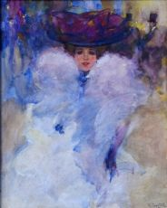 Young woman with big lilac hat by Victor Guerrier