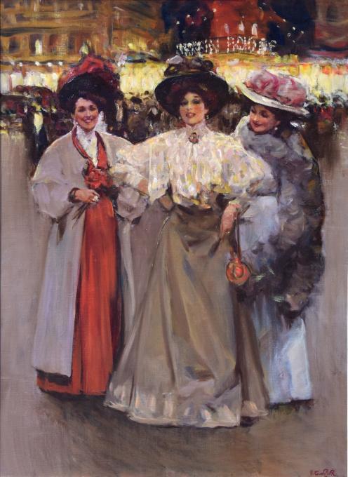 Three elegant ladies in Paris, Moulin Rouge by Victor Guerrier